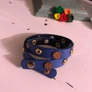 Tory Burch Blue leather wrap bracelet Logo